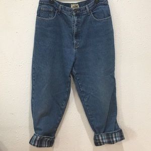 Vintage LL Bean Flannel Lined High Waist Jeans 10